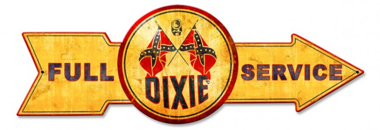 Full Service Dixie Arrow Metal Sign 32 x 11 Inches