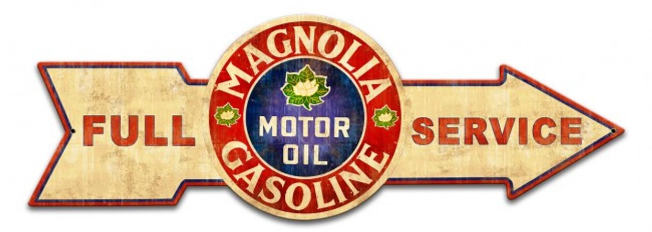 Full Service Magnolia Gasoline Arrow Metal Sign 32 x 11 Inches