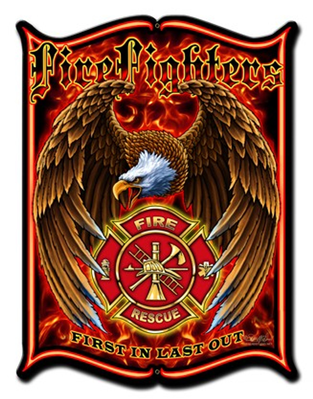 Firfighters Metal Sign 18 x 24 Inches