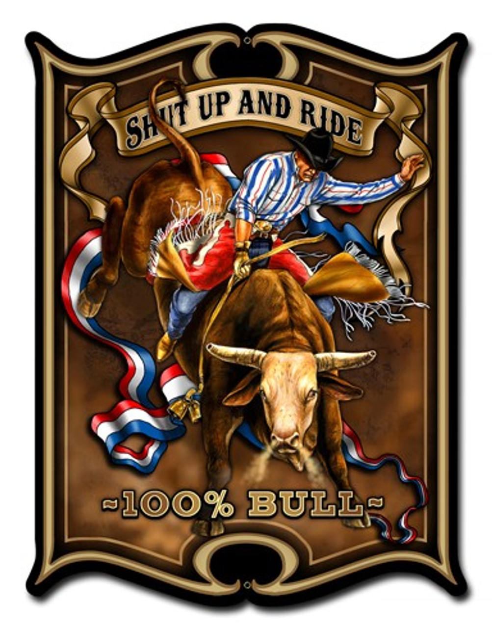 Bull Metal Sign 14 x 19 Inches