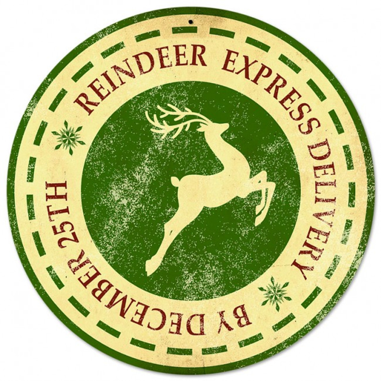 Reindeer Express Delivery Round Metal Sign 14 x 14 Inches