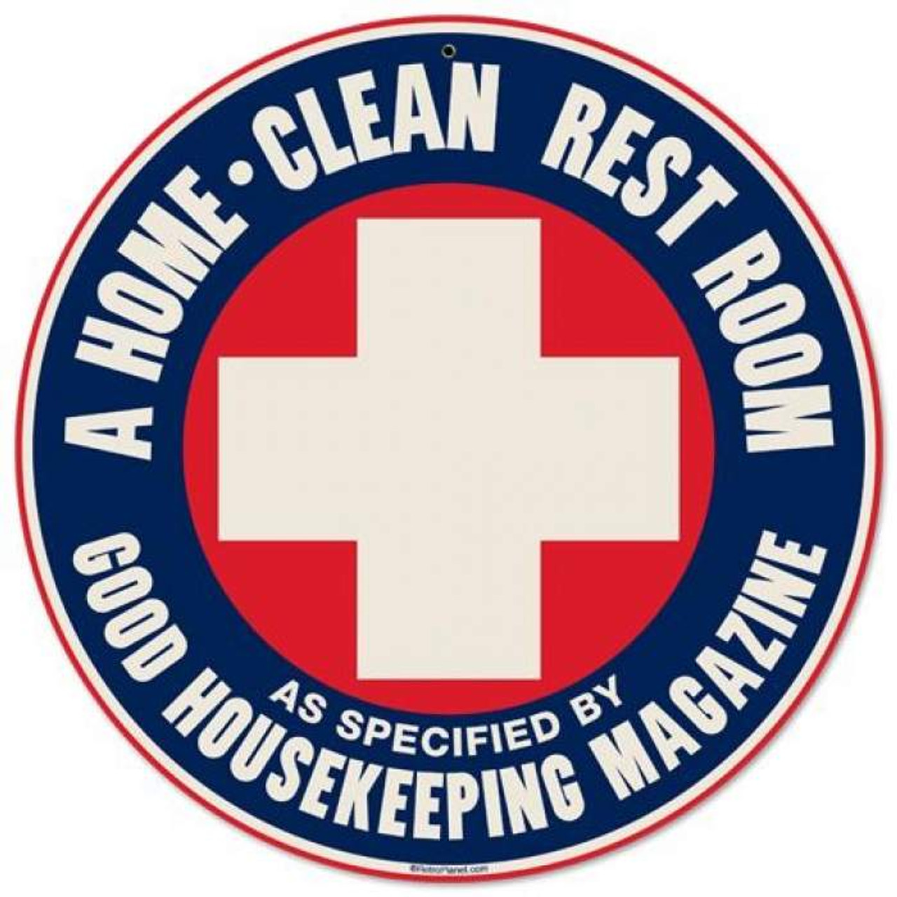Retro Home Clean Round Metal Sign 14 x 14 Inches