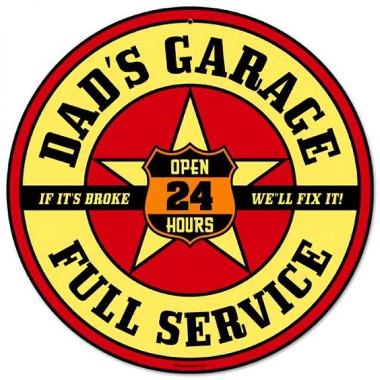 Retro Dads Garage Round Tin Sign 14 x 14 Inches