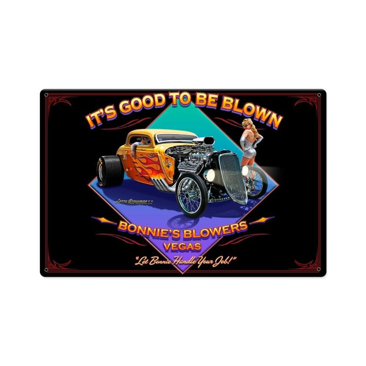 Blown Metal Sign 18 x 12 Inches