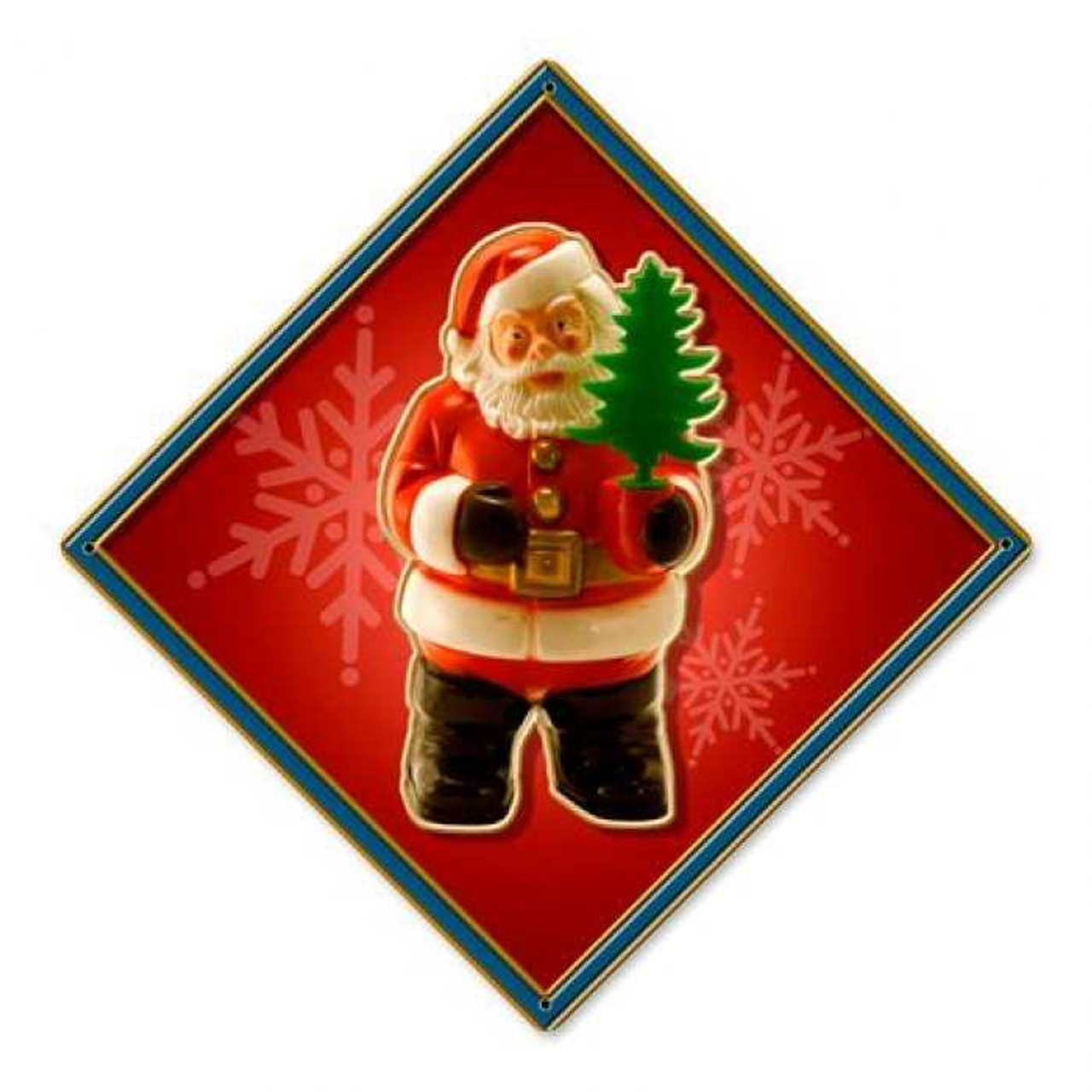 Vintage Santa Tree Metal Sign 12 x 12 Inches