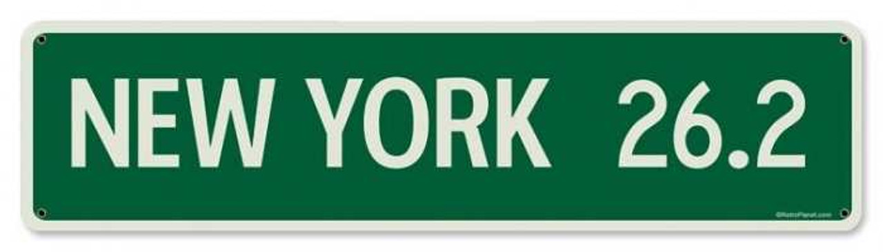 Vintage Mile Sign New York Metal Sign 5 x 20 Inches