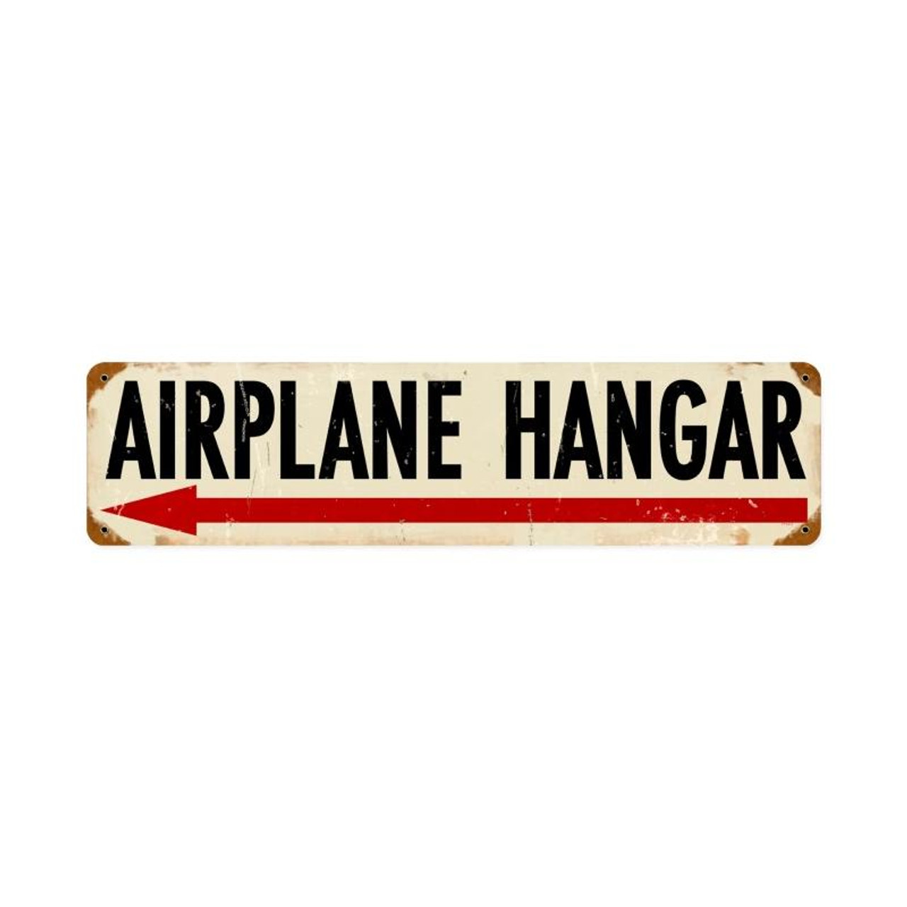 Airplane Hanger Left Metal Sign 20 x 5 Inches