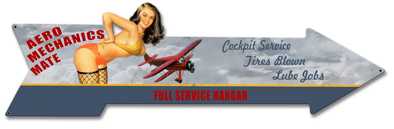 Aero Mechanics Arrow Metal Sign 31 x 9 Inches