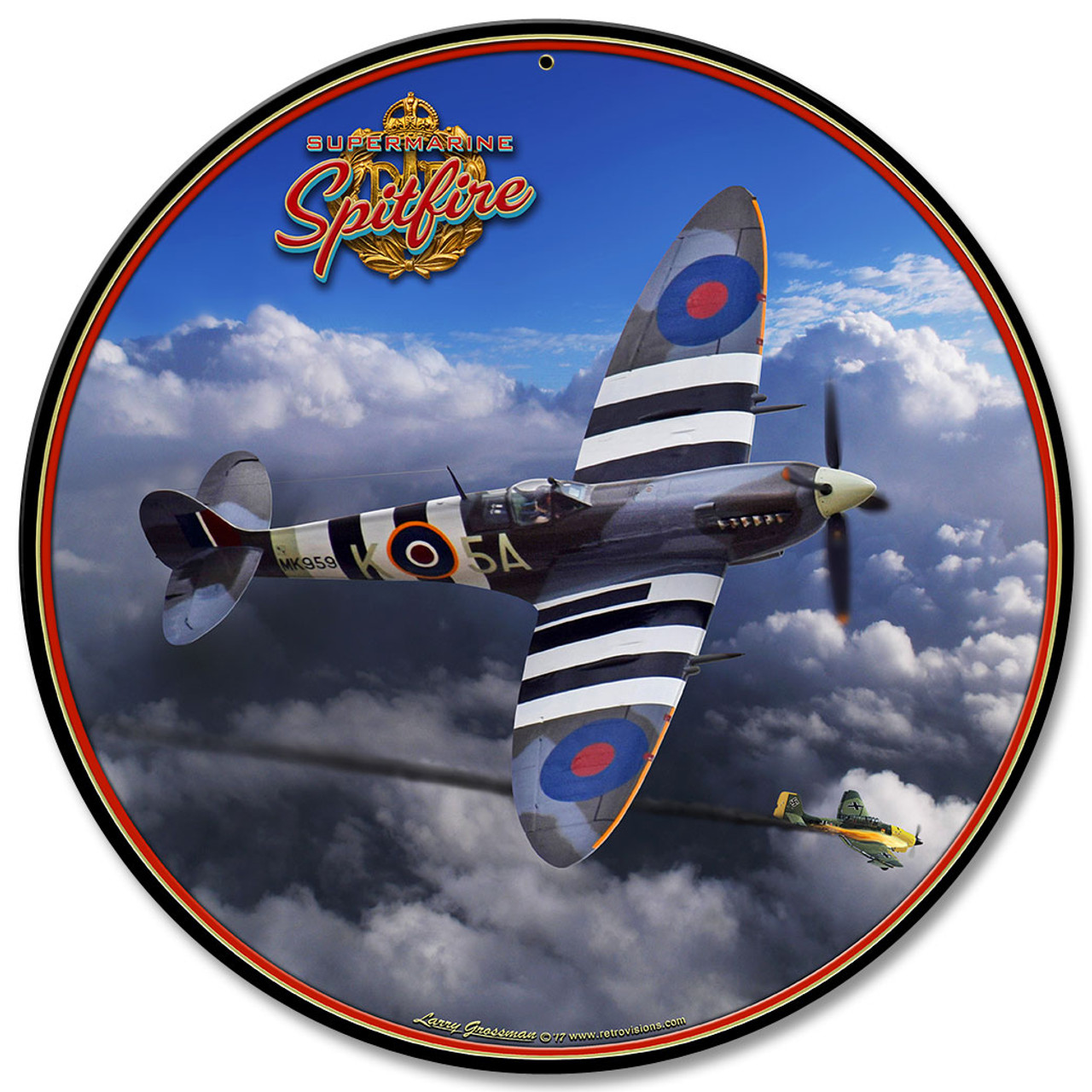 Spitfire Metal Sign 28 x 28 Inches