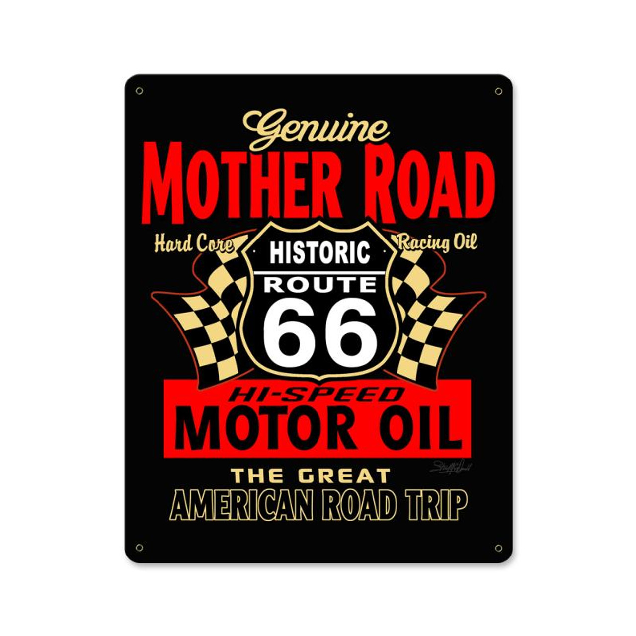 Mother Road Motor Oil Metal Sign 12 x 15 Inches