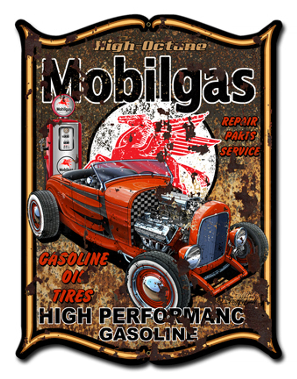Mobilegas Metal Sign 14 x 19 Inches