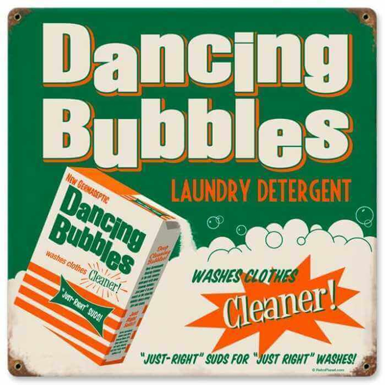 Retro Dancing Bubbles Metal Sign   12 x 12 Inches