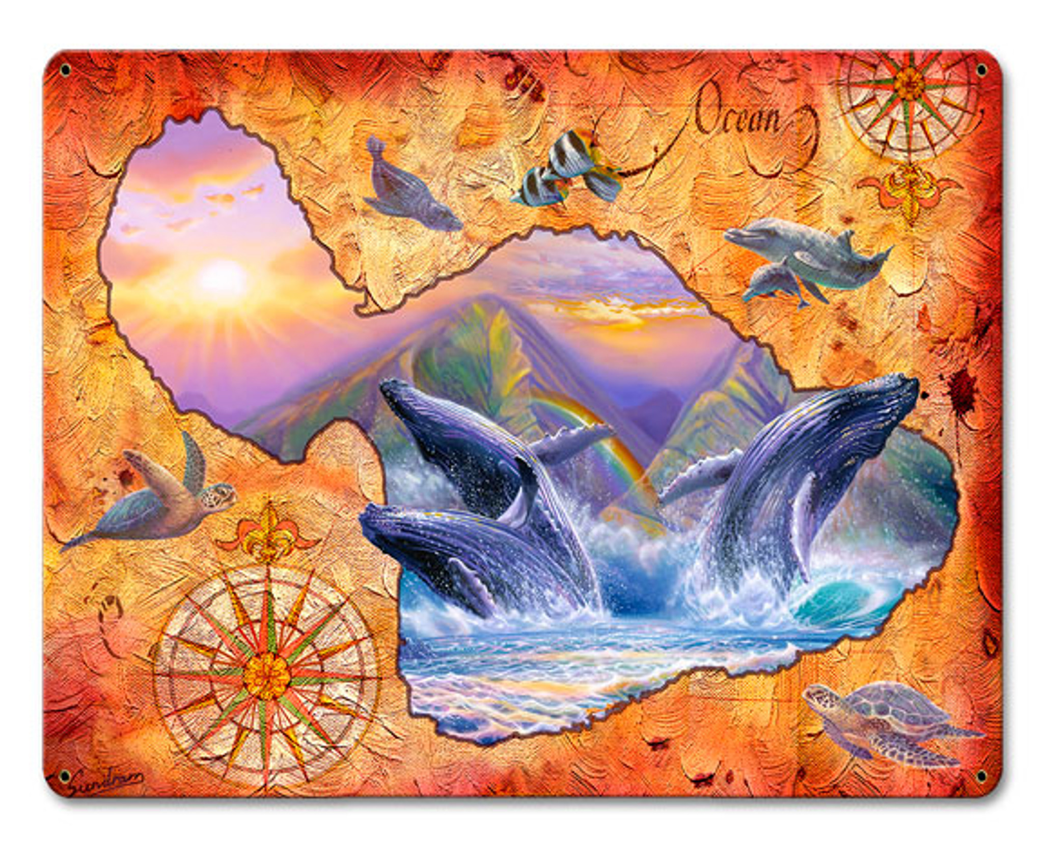 VINTAGE SIGN Whale Play Maui Map 15 x 12