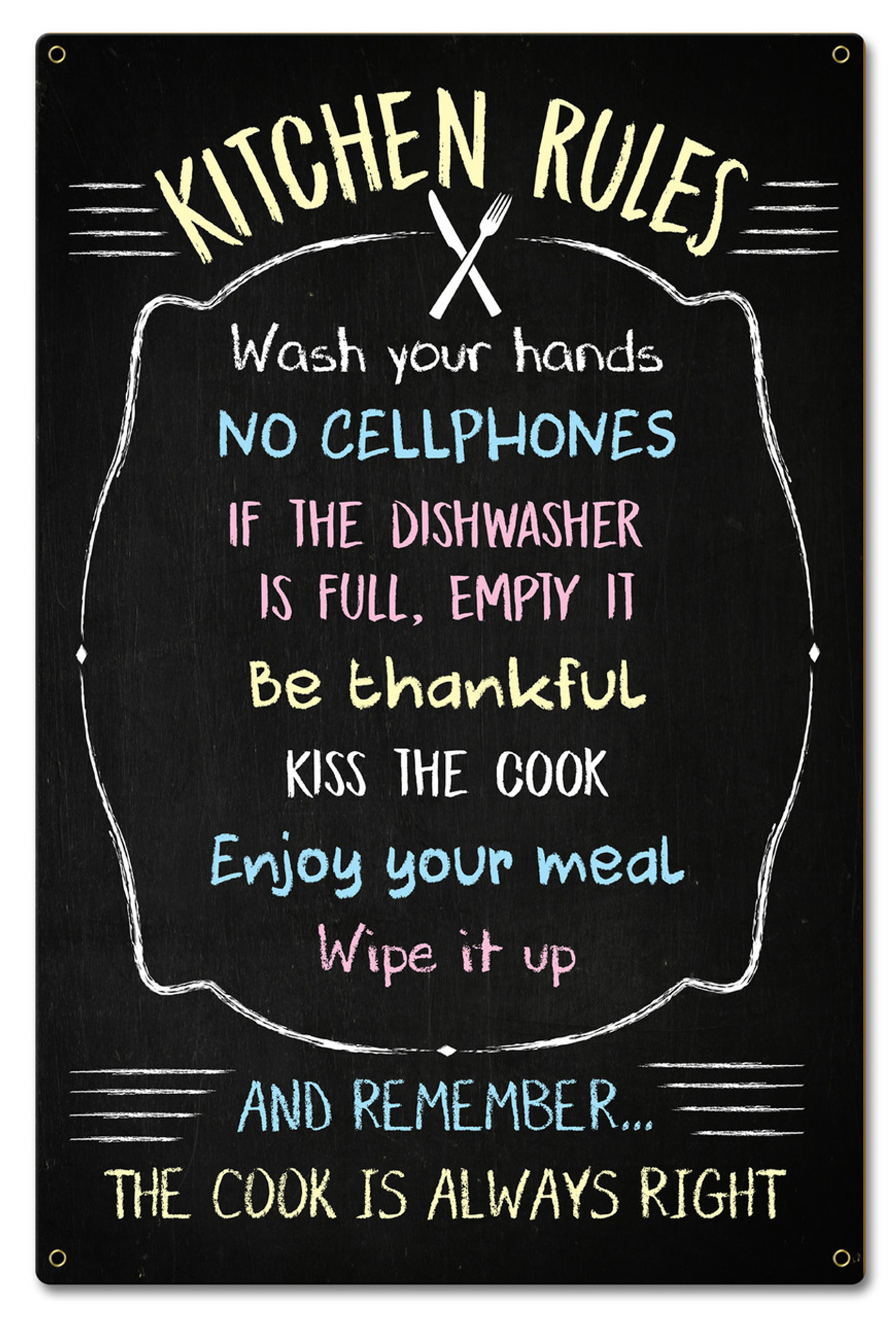 Kitchen Rules Chalk Drawing Metal Sign 16 x 24 Inches