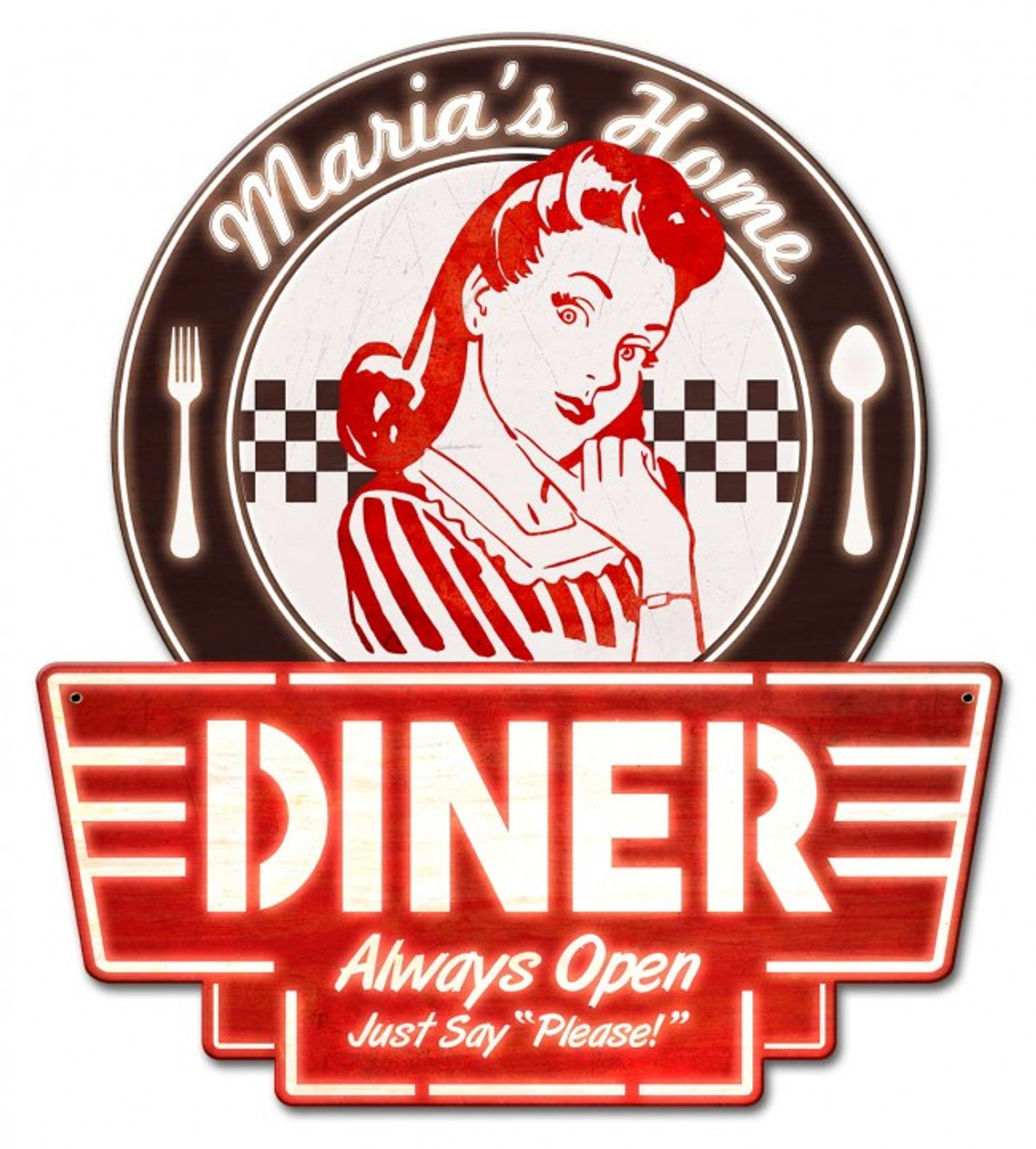 Mom S Home Diner Metal Sign Personalized 15 X 17 Inches