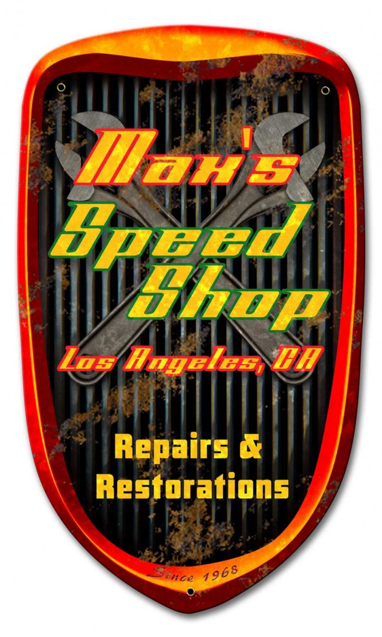 Speed Shop Grill Metal Sign Personalized 24 X 14 Inches