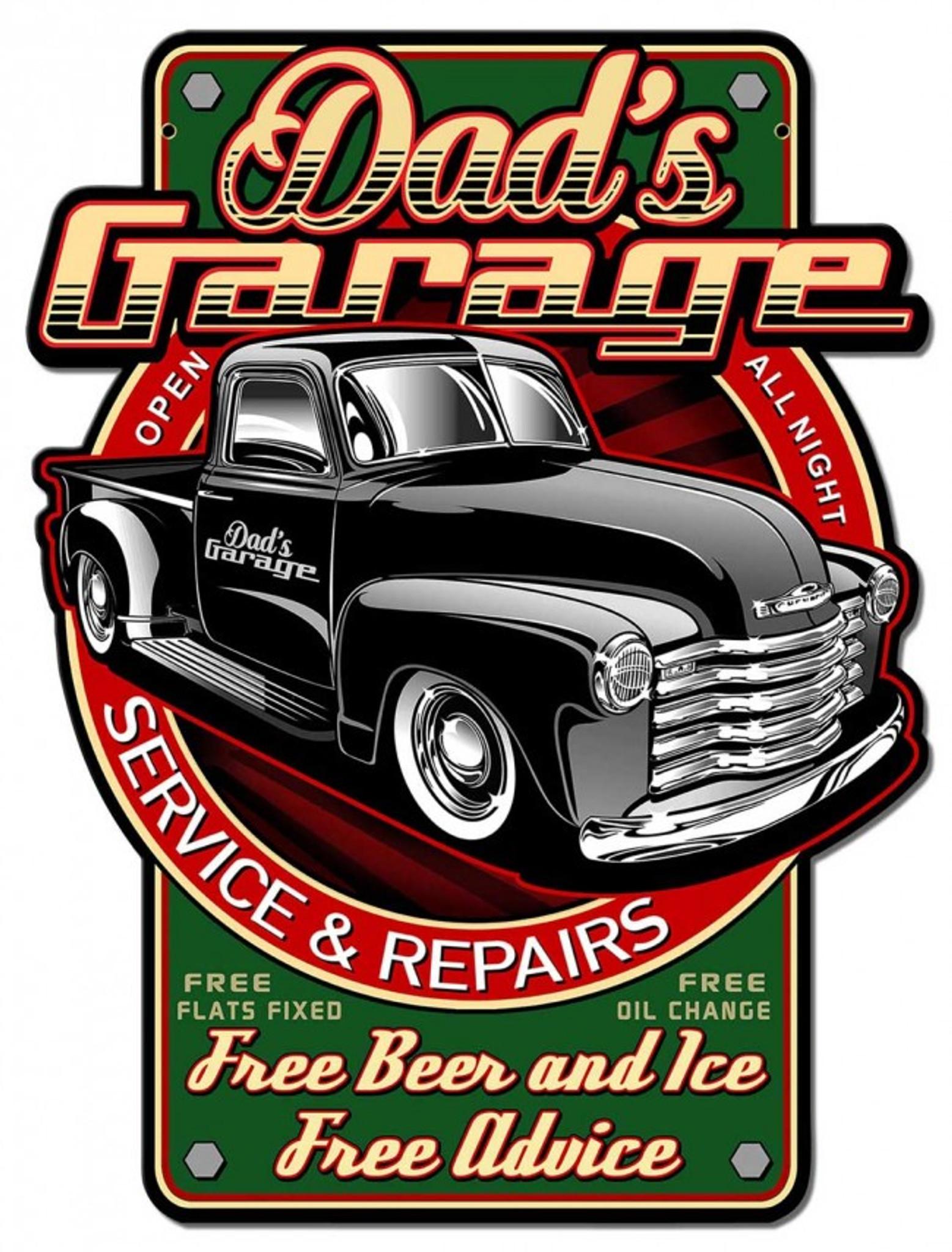 "Nostalgic Dads Garage Open Full Service 24 hrs  Aluminum Metal Sign 12/"""