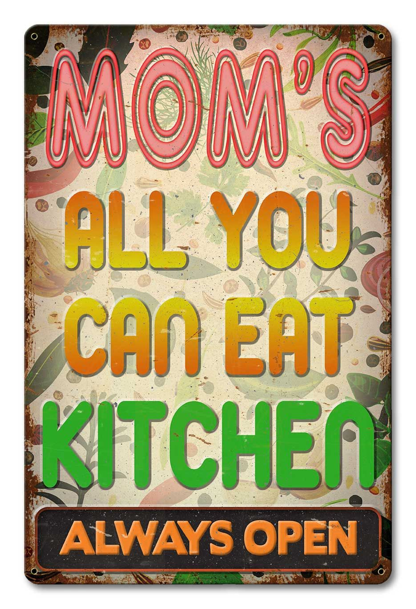 Moms Kitchen Metal Sign 12 x 18 Inches