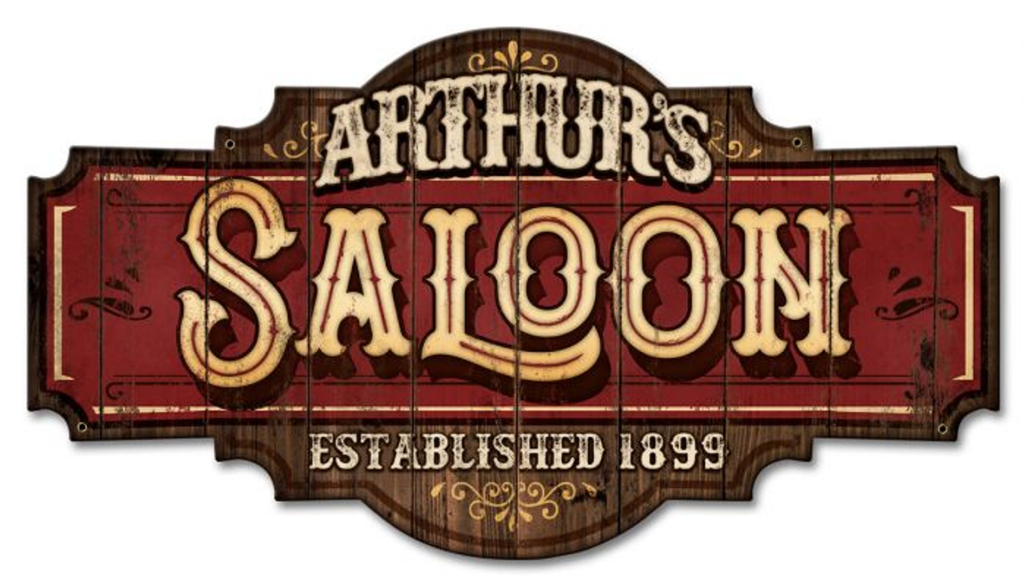 Saloon Metal Sign Personalized 22 X 12 Inches