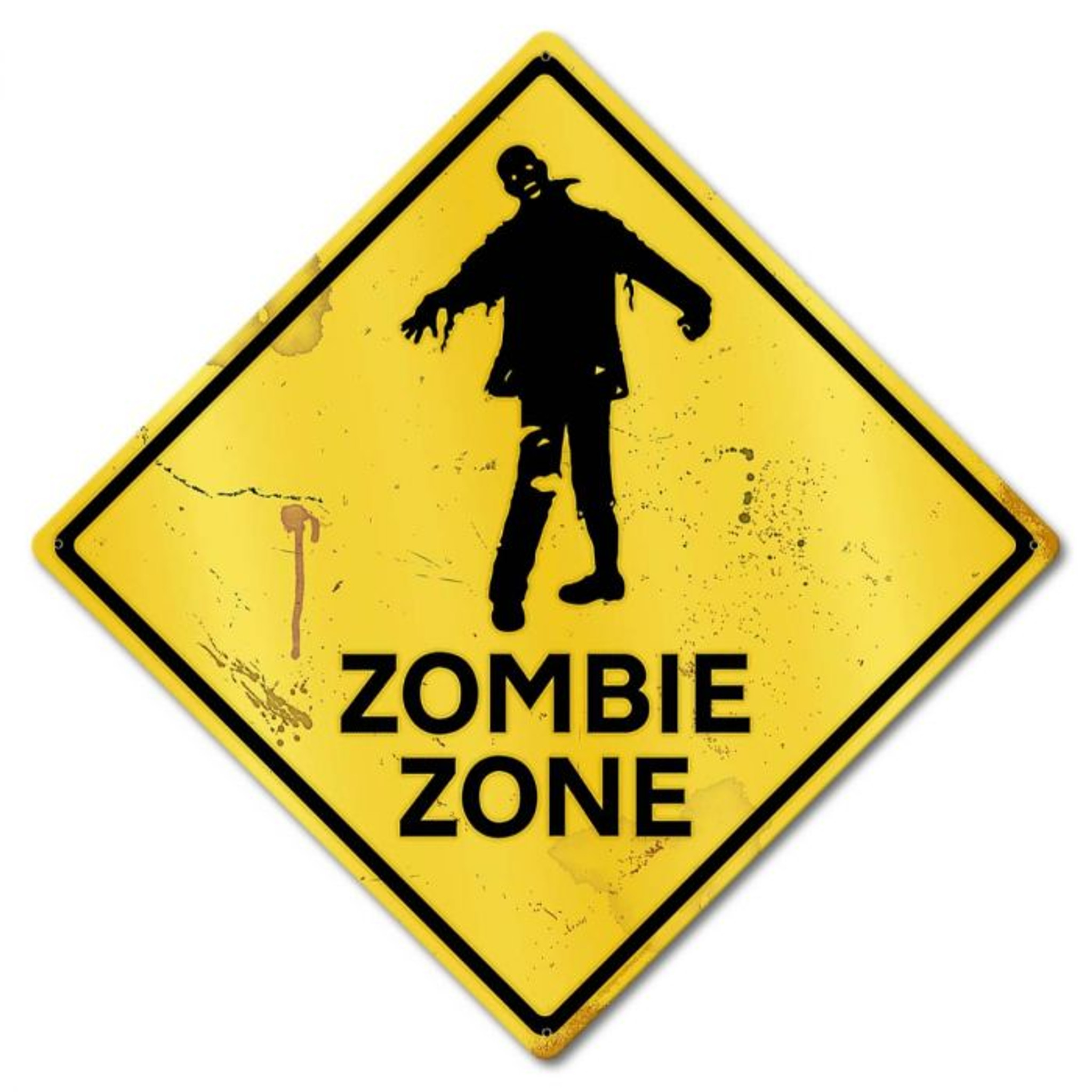 Zombie Warning Tin Sign New Misc