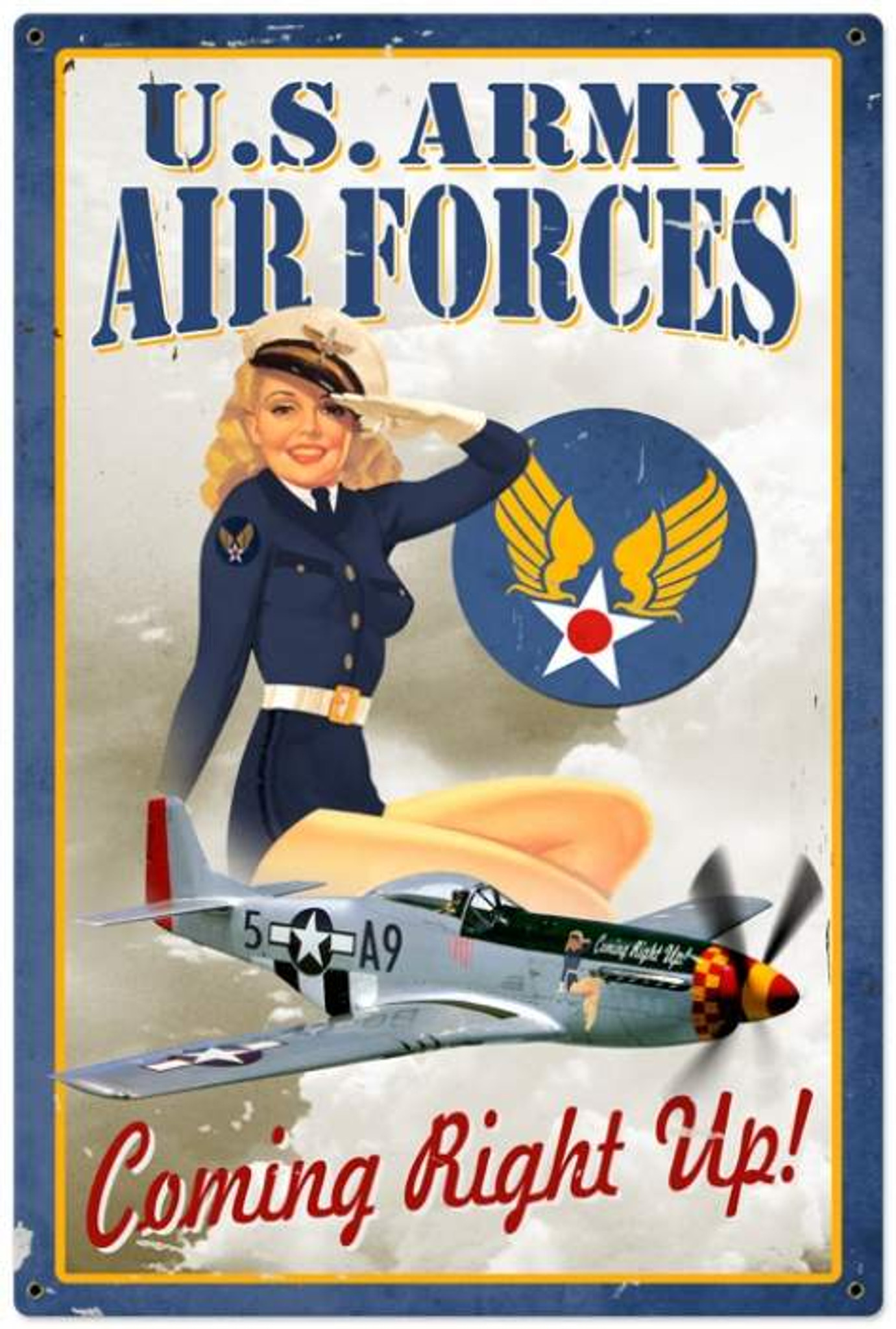 Retro Air Force Pinup - Pin-Up Girl Metal Sign 24 x 36 Inches