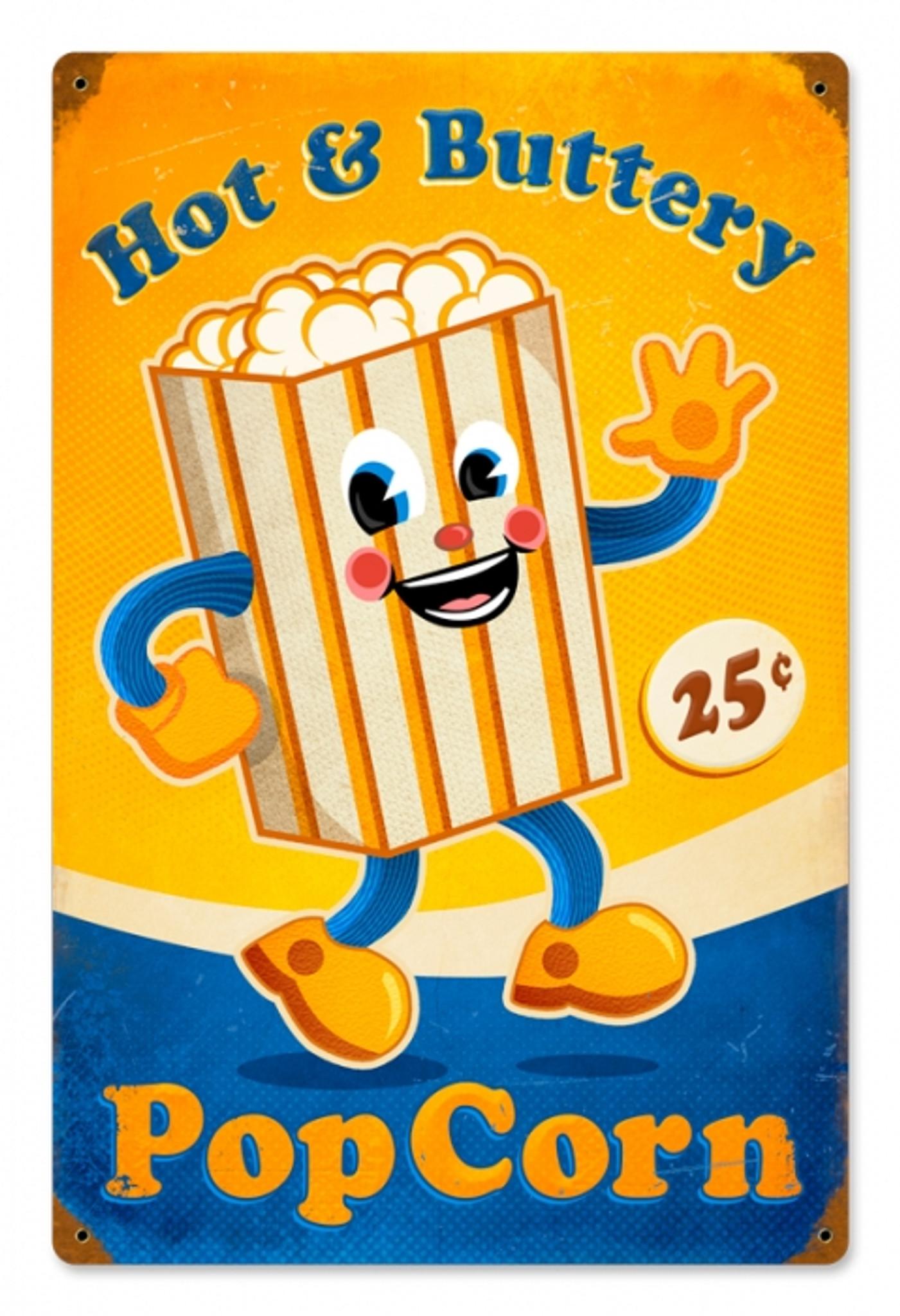 Vintage Popcorn Man Metal Sign 12 X 18 Inches