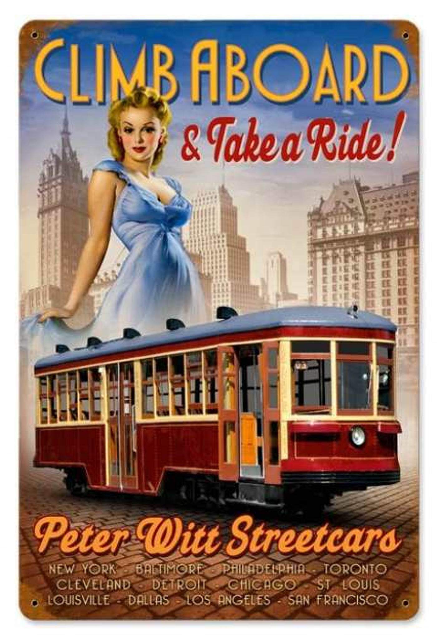 Retro Street Car Pin-Up Girl Metal Sign 18 x 12 Inches