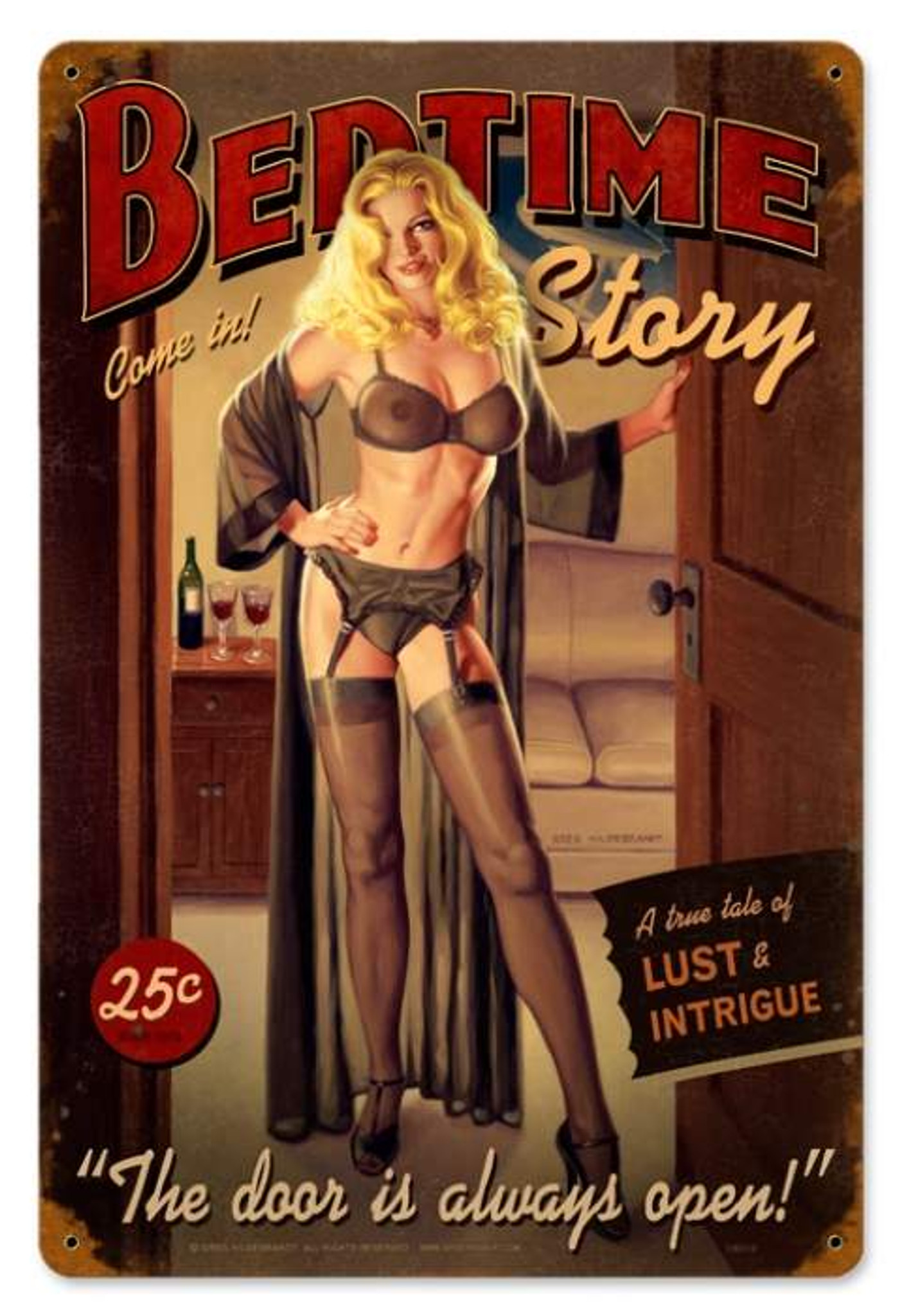 VINTAGE STYLE METAL SIGN Pinup Girl  Bedtime Story  12 x 18