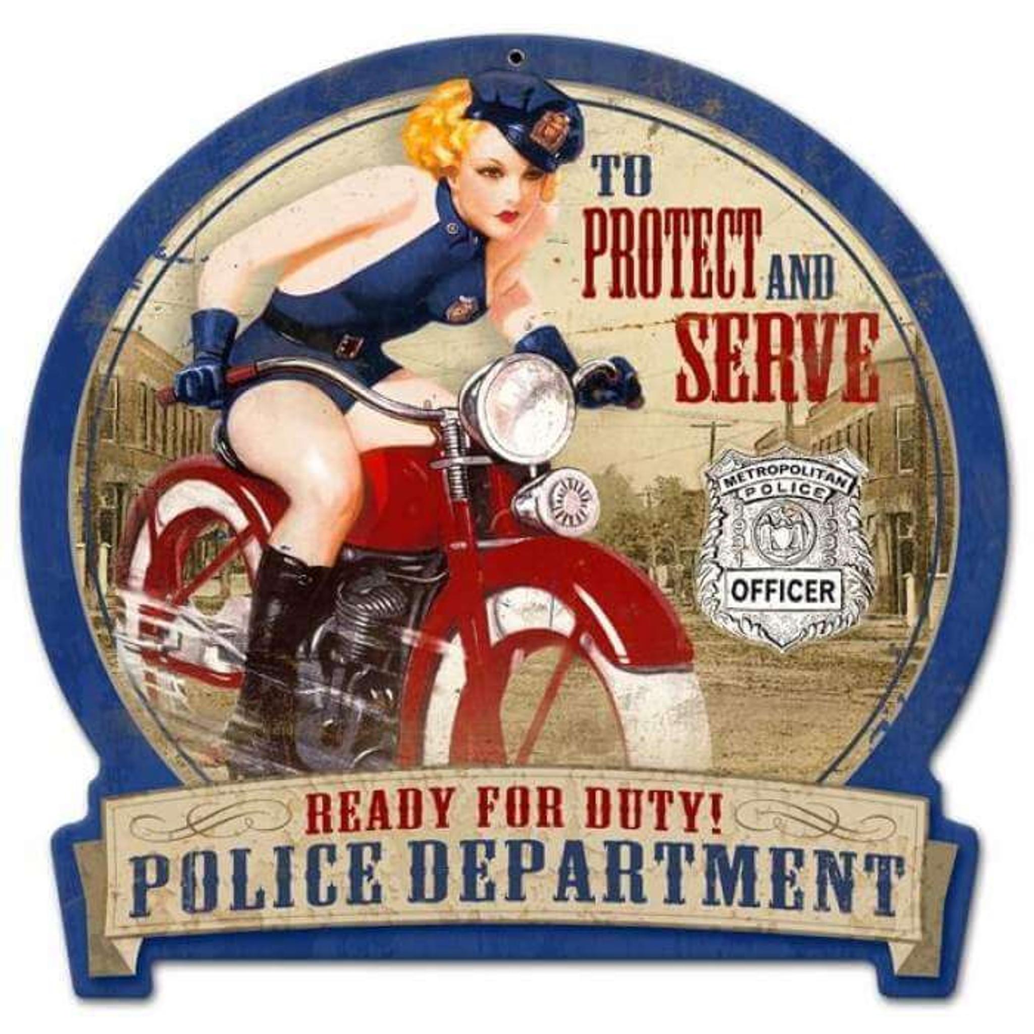Retro Police Bike Round Banner Pin Up Girl Metal Sign 16