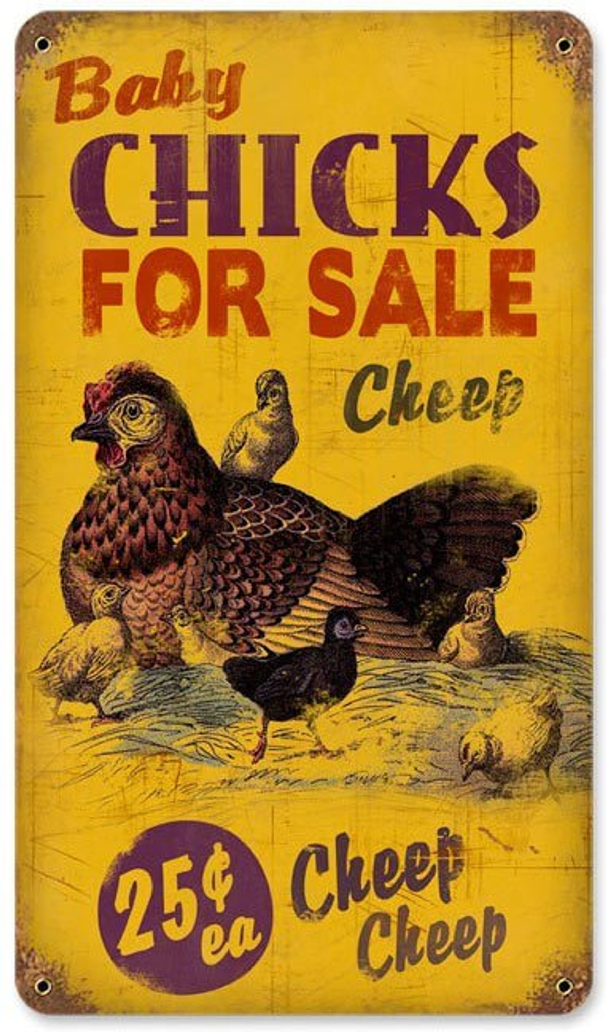 Retro Chicks for Sale Metal Sign 8 x 14 Inches