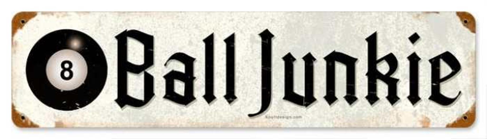 VINTAGE SIGN Made USA 8 Ball Junkie 5 x 20