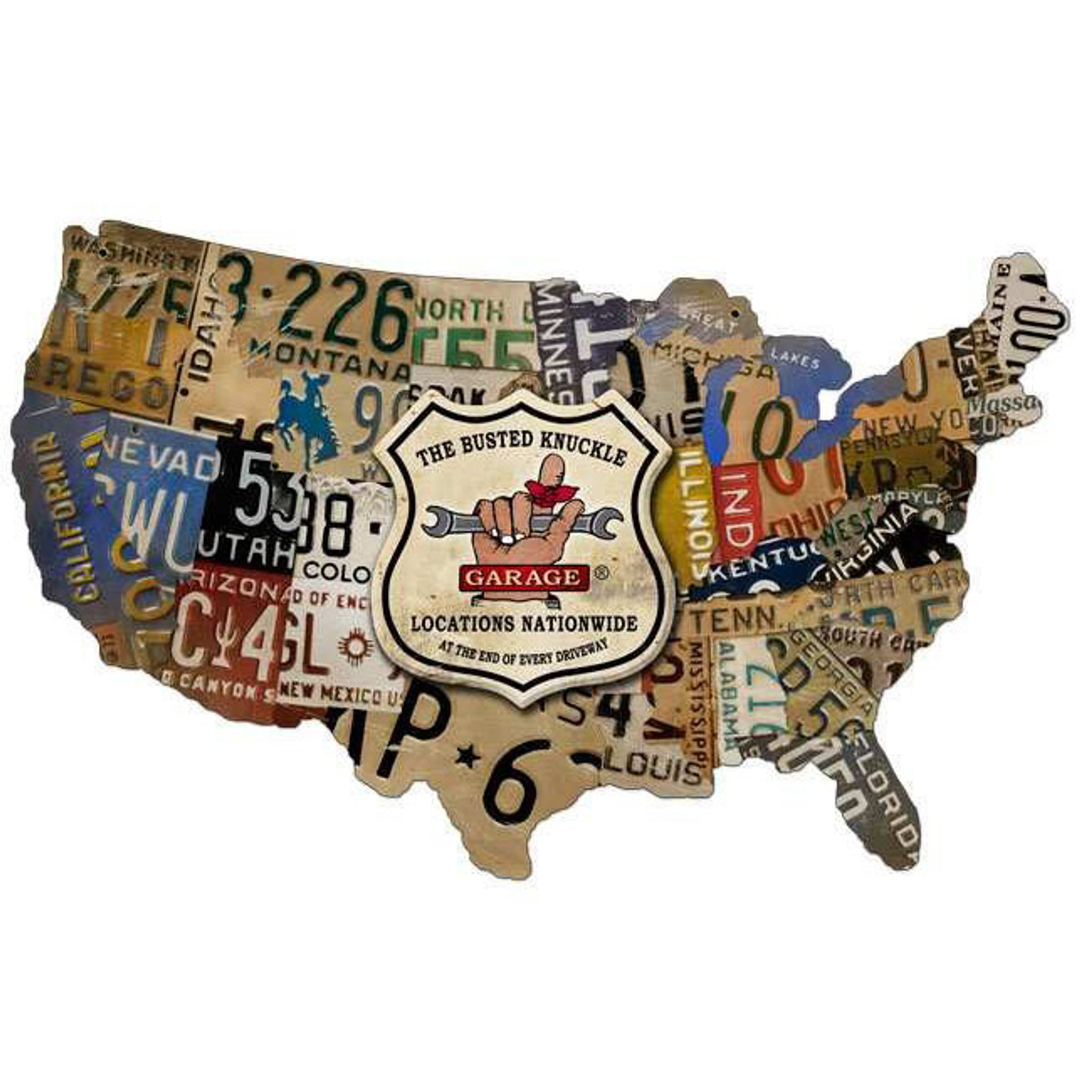 Retro License Plate Usa Map Custom Metal Shape Sign 25 X 16 Inches - Us-map-made-out-of-license-plates