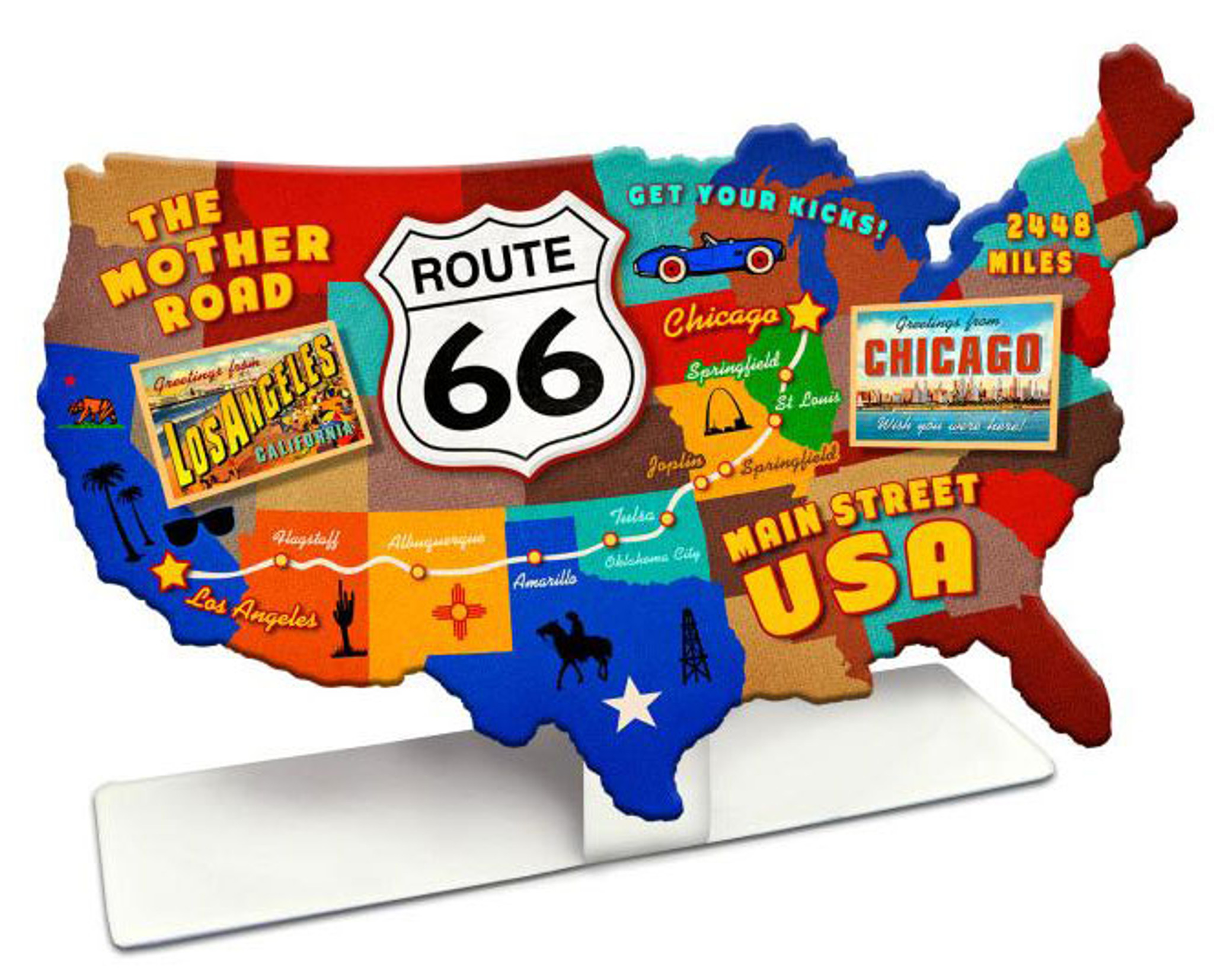 Route 66 Usa Map.Route 66 Usa Road Map Table Topper 9 X 6 Inches