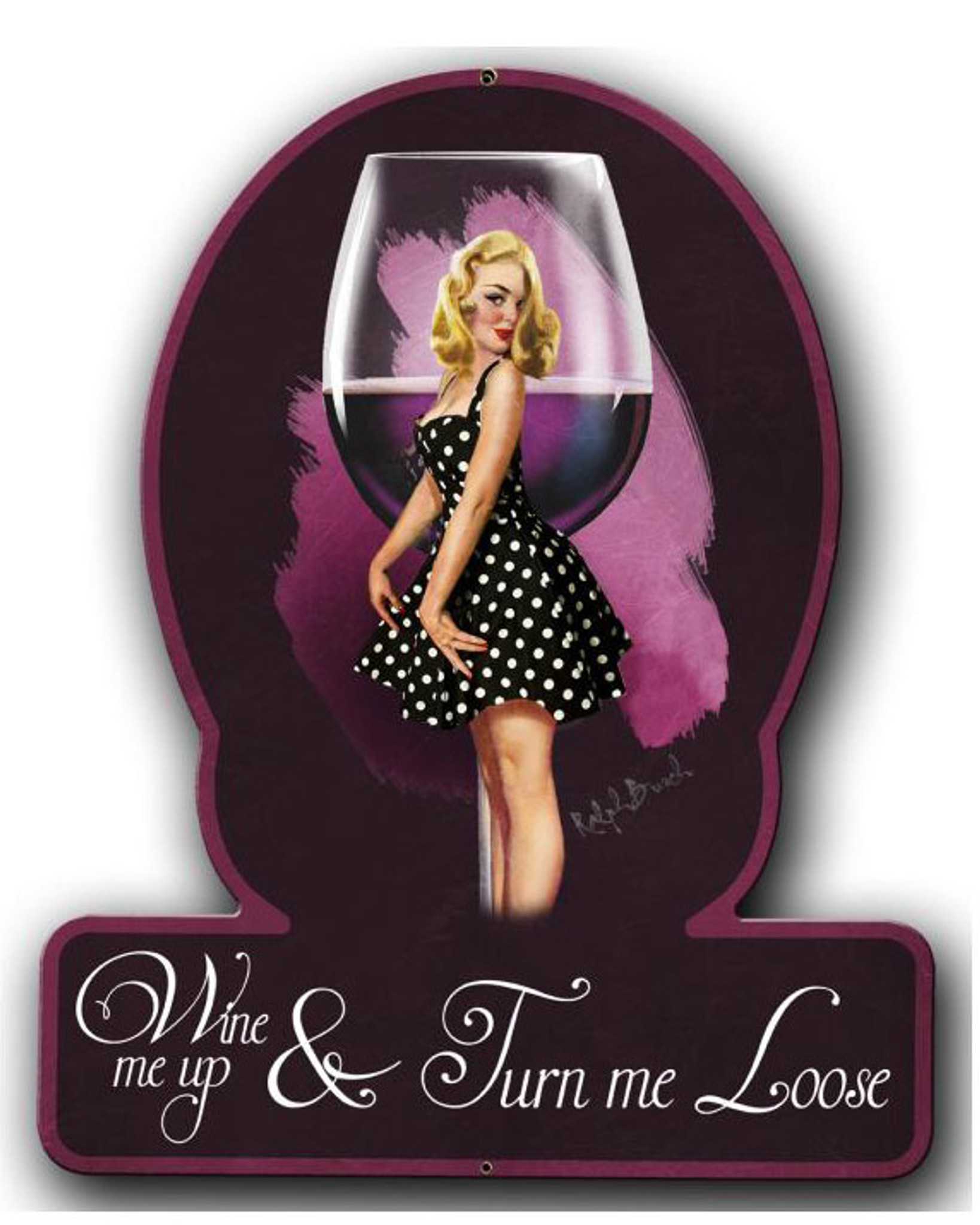 Wine Me Up Pinup Girl Metal Sign 13 X 16 Inches