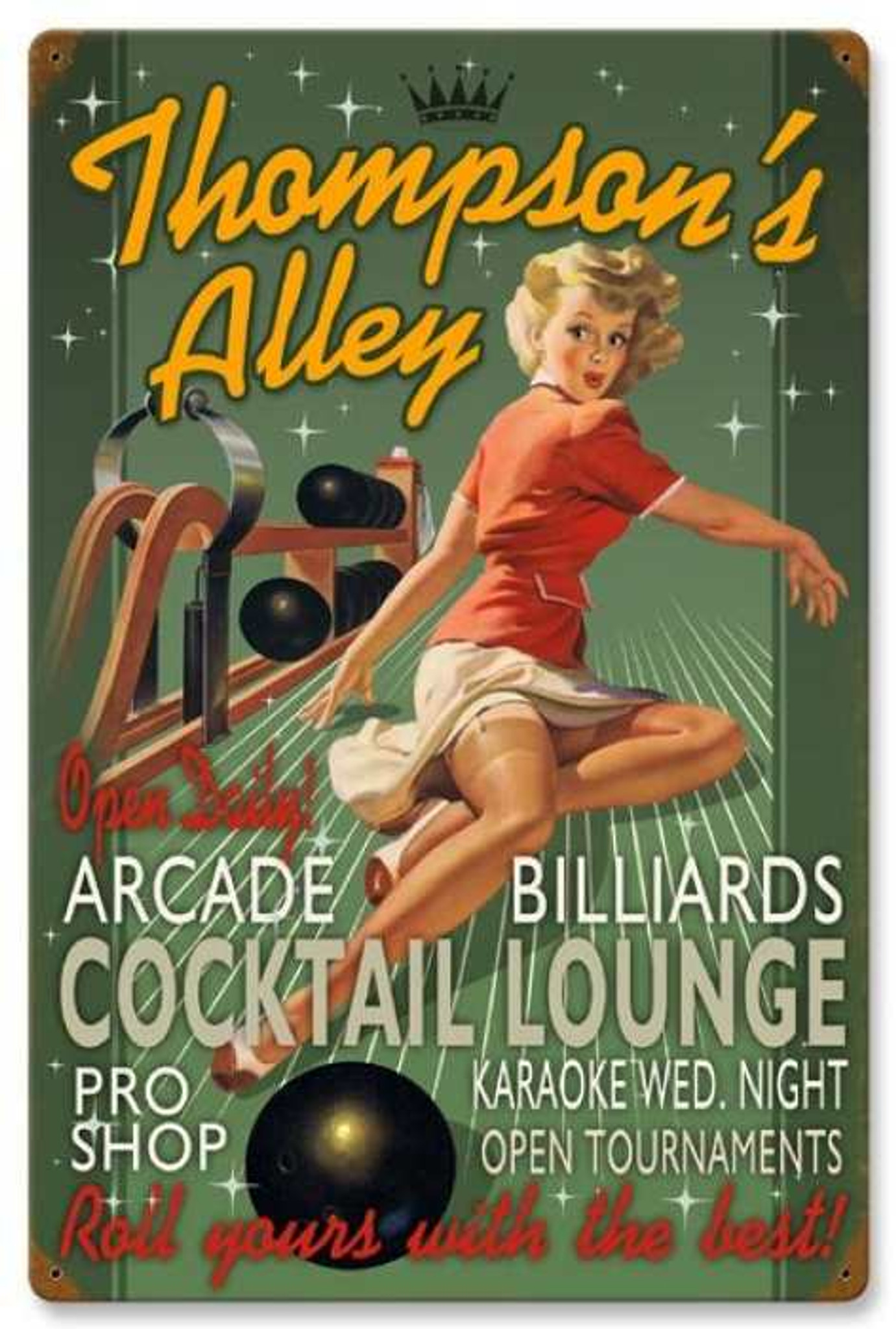 Retro Bowling Alley Pin Up Girl Metal Sign