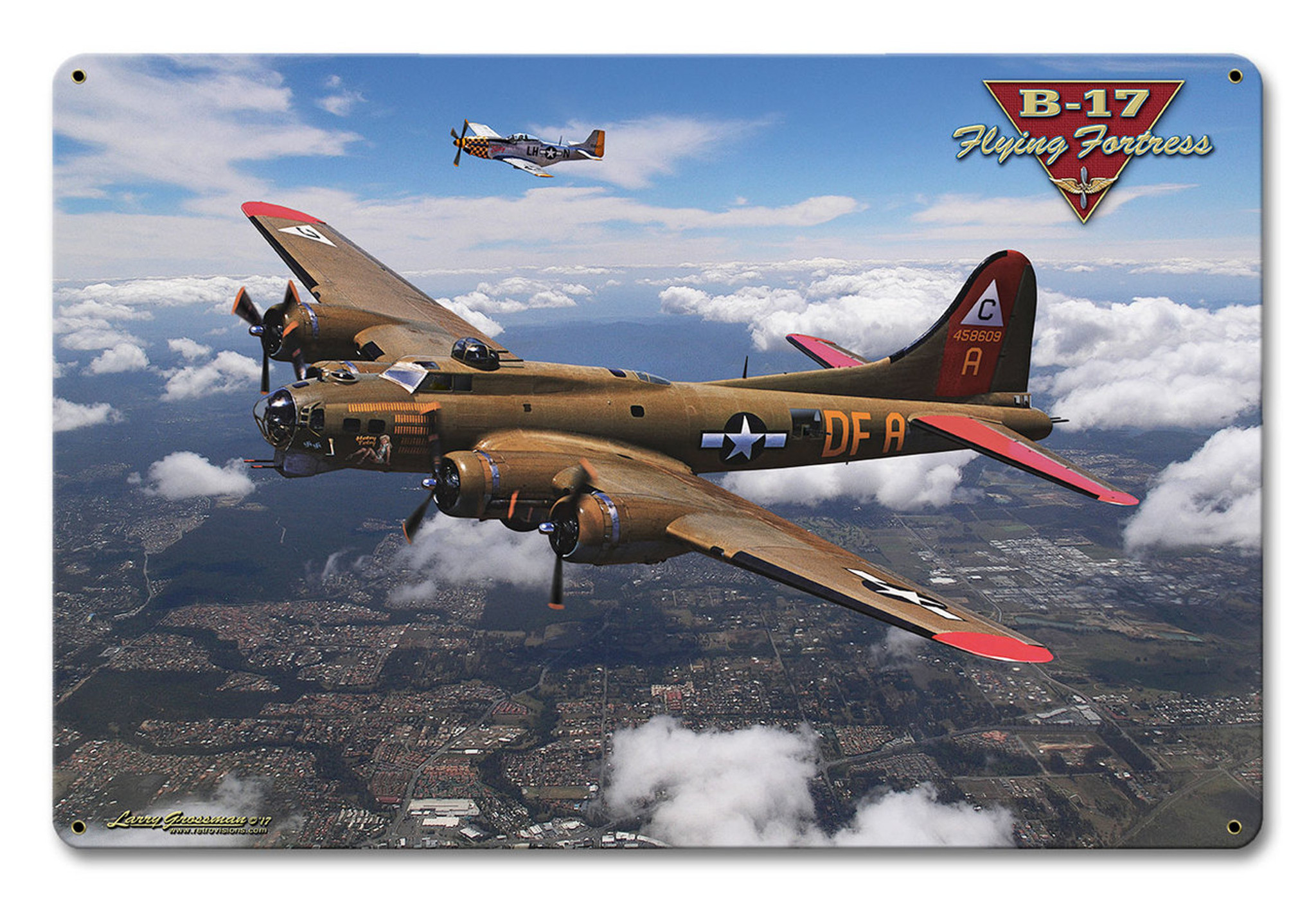 B 17 Flying Fortress Metal Sign 12 X 18 Inches