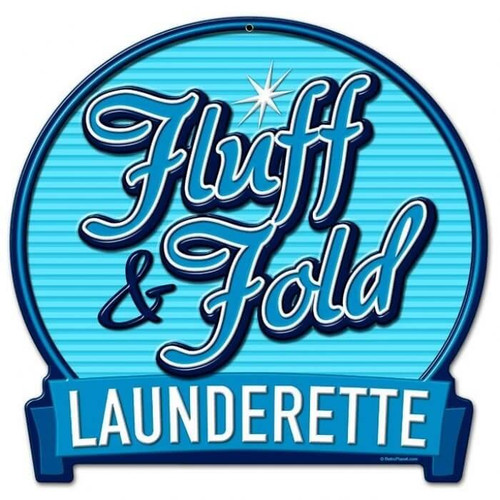 Retro Fluff Fold Round Banner Metal Sign