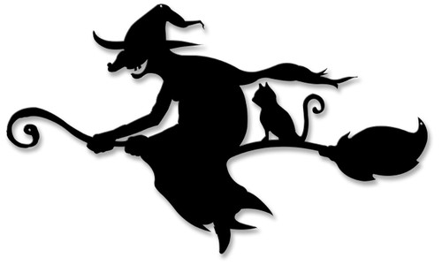 Witch And Cat Broom Silhouette Metal Sign 19 x 11 Inches
