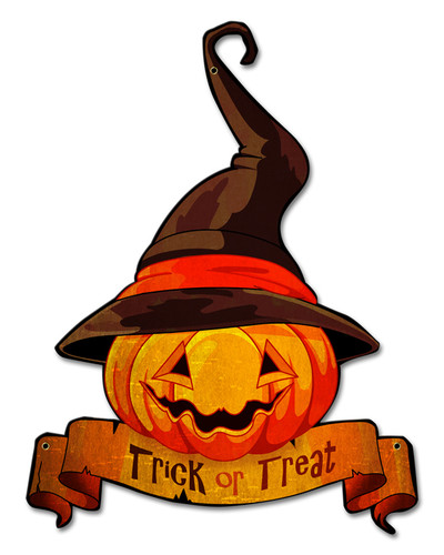 Trick Or Treat Jack Olantern Metal Sign 18 x 20 Inches