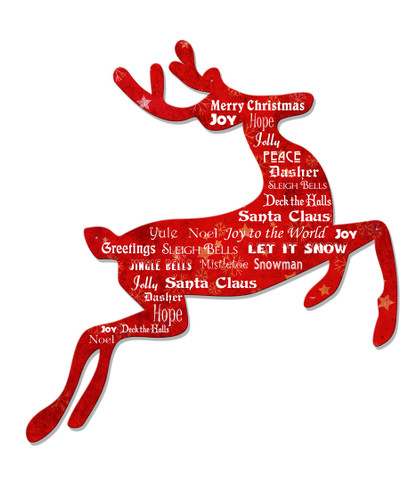 Christmas Reindeer Metal Sign 20 x 20 Inches