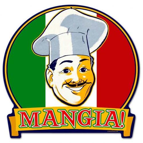Retro Mangia Round Banner Metal Sign