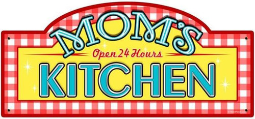 Retro Mom's Kitchen Metal Street Sign 17 x 7 Inches