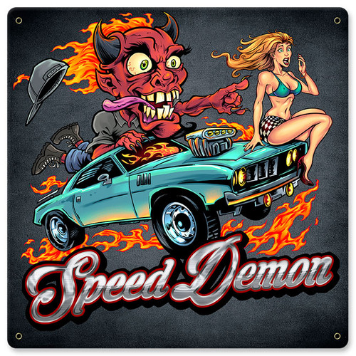 Speed Demon Flaming Hot Rod Metal Sign 12 x 12 Inches