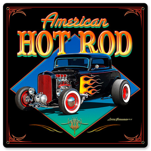 American Hot Rod 32 Metal Sign 12 x 12 Inches