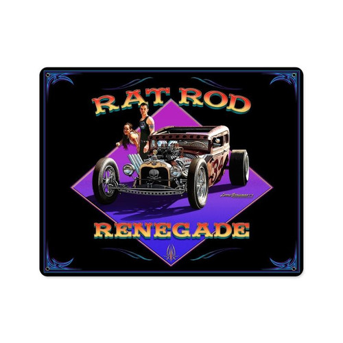 Rat Rod Renegade Metal Sign 15 x 12 Inches