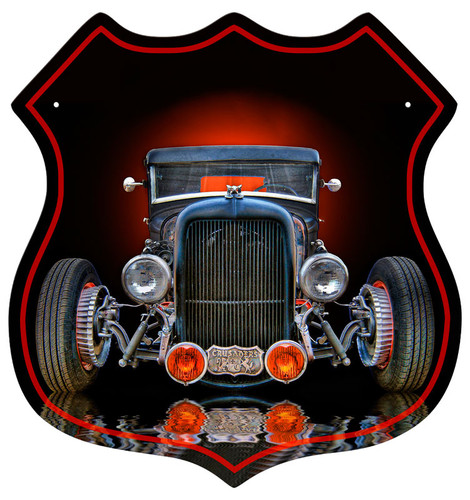 Old Rat Rod Shield Shape Metal Sign 15 x 15 Inches
