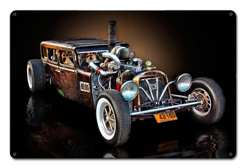 Montana Rat Rod Metal Sign 18 x 12 Inches