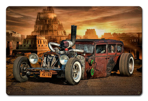 Rat Rod City Metal Sign 18 x 12 Inches