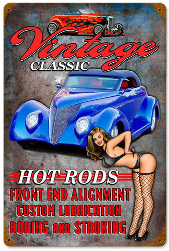 Vintage Hot Rods Metal Sign 12 x 18 Inches