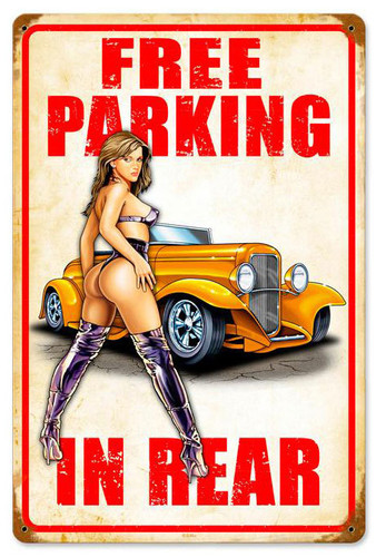 Free Parking Rod Metal Sign 12 x 18 Inches